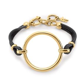 Metal Chic Black Leather Cord Bracelet-