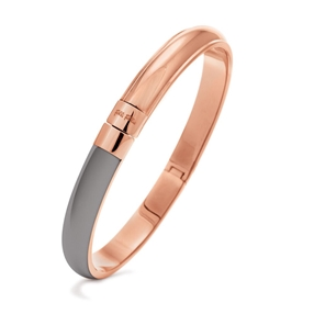 Style Candies Rose Gold Plated Grey Enamel Thin Bangle Bracelet-