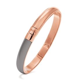 Style Candies Rose Gold Plated Grey Enamel Thin Bangle Bracelet-