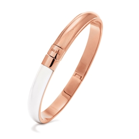 Style Candies Rose Gold Plated White Enamel Thin Bangle Bracelet-