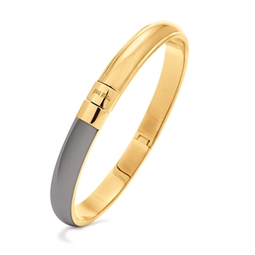 Style Candies Yellow Gold Plated Grey Enamel Thin Bangle Bracelet-