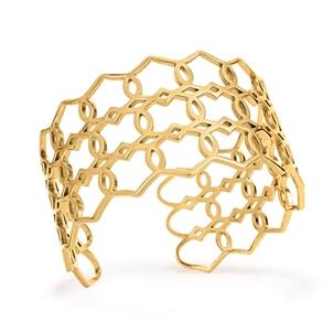 Chic Princess Yellow Gold Plated Bangle Bracelet-