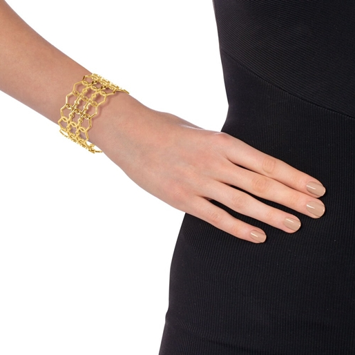 Chic Princess Yellow Gold Plated Bangle Bracelet-