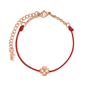 Heart4Heart cord bracelet with stainless steel rose gold plated H4H motif-