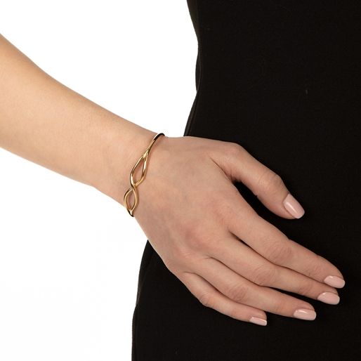 Fluidity 18k Yellow Gold Plated Brass Σταθερό Βραχιόλι-