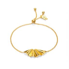 Pleats Bliss 18k Yellow Gold Plated Brass Adjustable Bracelet-