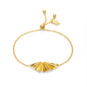 Pleats Bliss 18k Yellow Gold Plated Brass Ρυθμιζόμενο Βραχιόλι-
