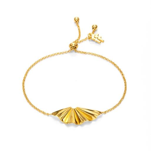 Pleats Bliss 18k Yellow Gold Plated Brass Ρυθμιζόμενο Βραχιόλι-