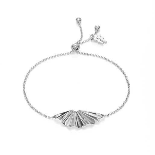 Pleats Bliss Silver Plated Brass Ρυθμιζόμενο Βραχιόλι-
