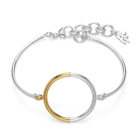 Bi-Μetal Chic 18K Yellow Gold & Silver Plated Brass Βραχιόλι-