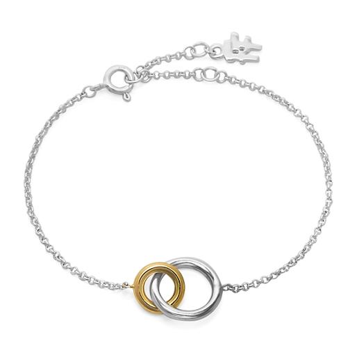 Bi-Μetal Chic 18K Yellow Gold & Silver Plated Brass Bracelet-
