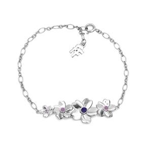 The Dreamy Flower ασημένιο 925° βραχιόλι αλυσίδα με μοτίφ λουλουδιών-