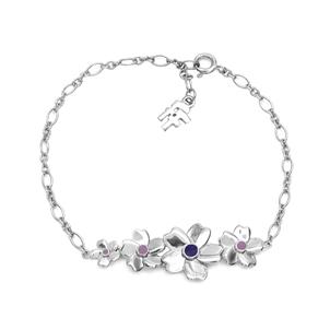 The Dreamy Flower silver 925° chain bracelet with flowers motif-