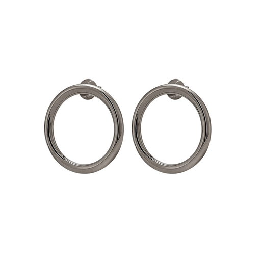 Metal Chic Silver and Gun Plated Double Earrings-