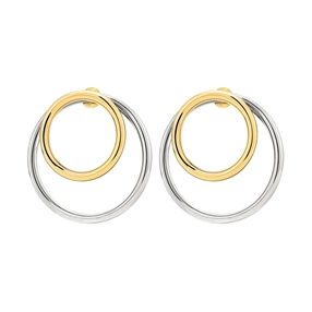 Metal Chic Silver and Yellow Gold Plated Διπλά Σκουλαρίκια-