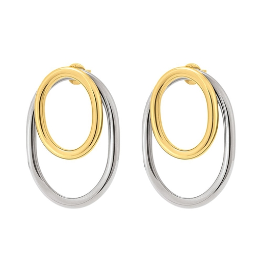 Metal Chic Silver and Light Yellow Gold Plated Διπλά Σκουλαρίκια-