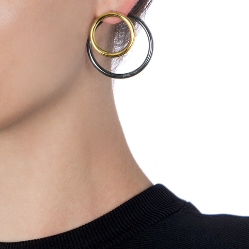 Metal Chic Gun And Yellow Gold Plated Double Earrings-