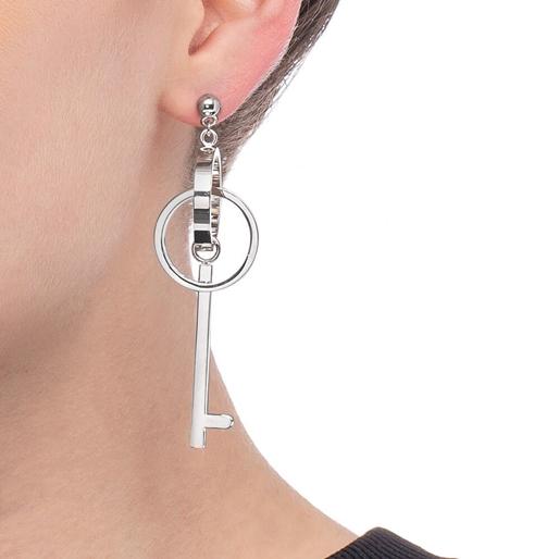 On Key Silver Plated Long Earrings-