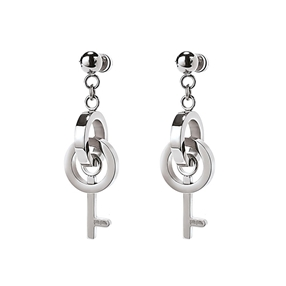 On Key Silver Plated Short Earrings-