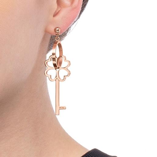 On Key Rose Gold Plated Long Earrings -