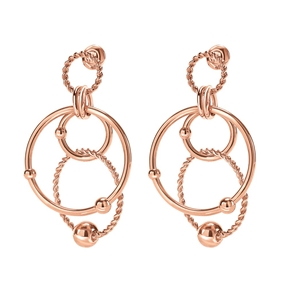 Style Bonding Rose Gold Plated Μακριά Σκουλαρίκια-