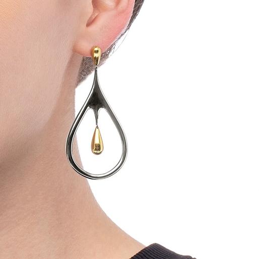 Style Drops Gun Plated Long Earrings-