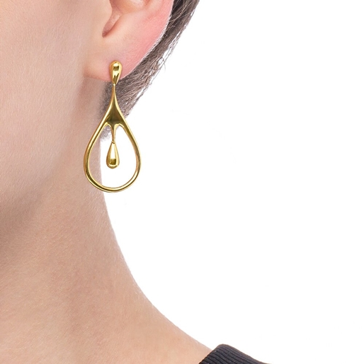 Style Drops Yellow Gold Plated Κοντά Σκουλαρίκια-