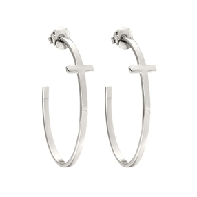Carma Silver Plated Brass Hoop Earrings-
