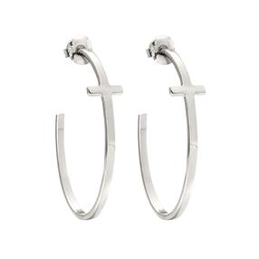 Carma Silver Plated Brass Hoop Earrings-