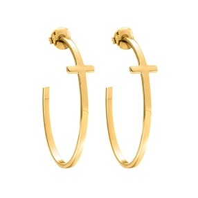 Carma 18k Yellow Gold Plated Brass Hoop Earrings-