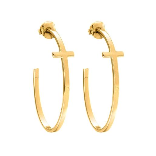 Carma 18k Yellow Gold Plated Brass Hoop Earrings-