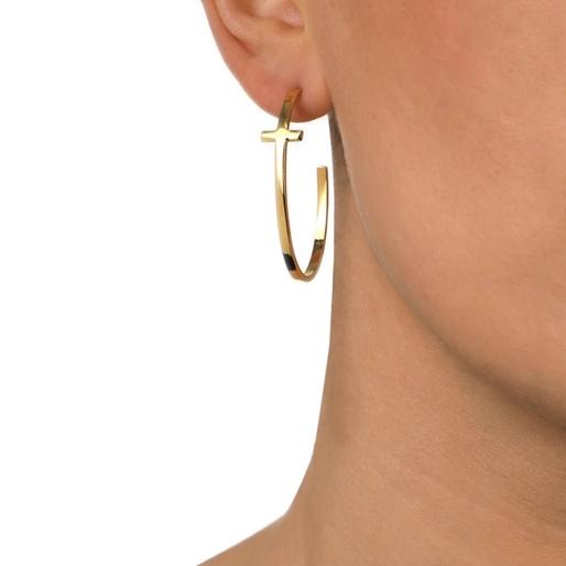 Carma 18k Yellow Gold Plated Brass Κρίκοι Σκουλαρίκια-