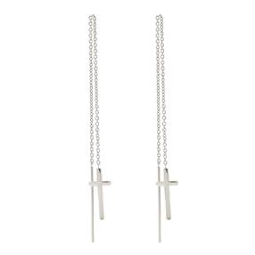 Carma Silver Plated Brass Drop Through Earrings-