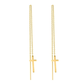 Carma 18k Yellow Gold Plated Brass Drop Through Earrings-