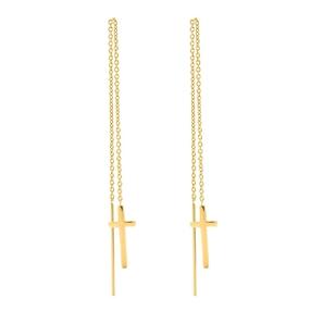 Carma 18k Yellow Gold Plated Brass Drop Through Earrings-