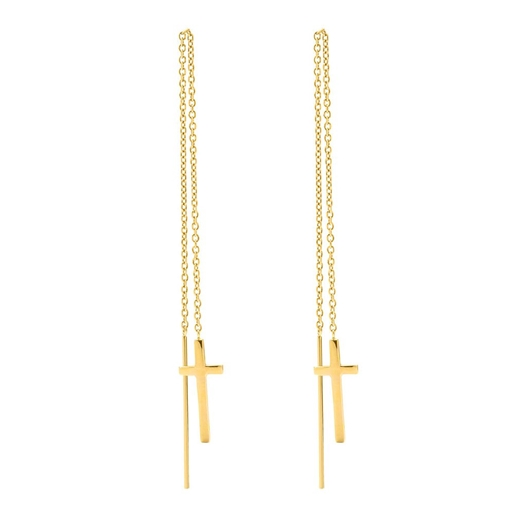 Carma 18k Yellow Gold Plated Brass Drop Through Σκουλαρίκια-