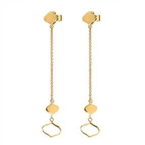 Chic Princess Yellow Gold Plated Long Earrings-