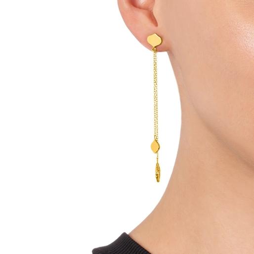 Chic Princess Yellow Gold Plated Μακριά Σκουλαρίκια-