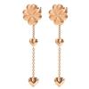 Heart4Heart Blossom Rose Gold Plated Long Earrings