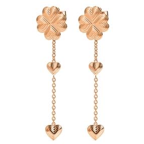 Heart4Heart Blossom Rose Gold Plated Long Earrings-