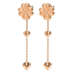Heart4Heart Blossom Rose Gold Plated Μακριά Σκουλαρίκια-