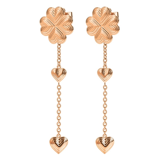 Heart4Heart Blossom Rose Gold Plated Μακριά Σκουλαρίκια-