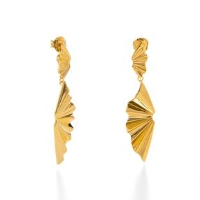 Pleats Bliss 18k Yellow Gold Plated Brass Long Earrings-