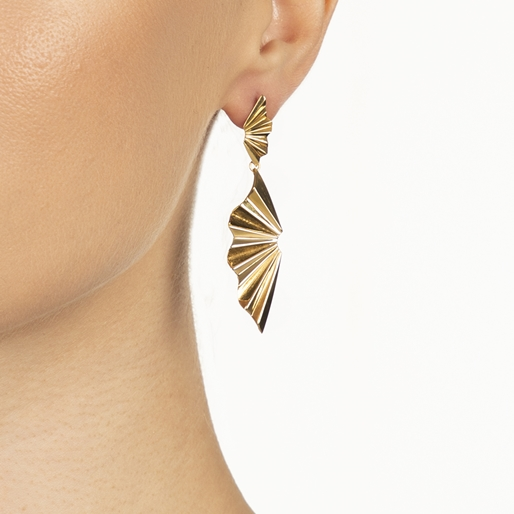 Pleats Bliss 18k Yellow Gold Plated Brass Long Earrings-