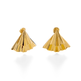 Pleats Bliss 18k Yellow Gold Plated Brass Short Earrings-