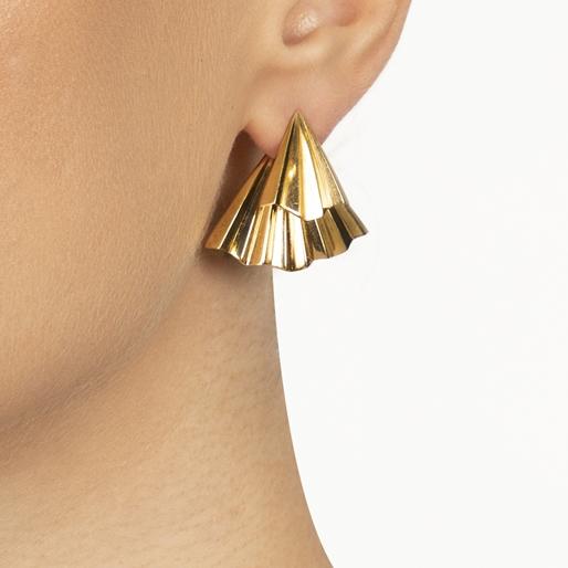 Pleats Bliss 18k Yellow Gold Plated Brass Short Earrings-