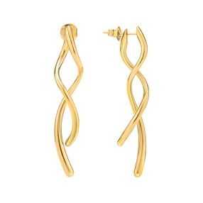 Fluidity 18k Yellow Gold Plated Brass Long Earrings-