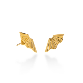 Pleats Bliss 18k Yellow Gold Plated Brass Stud Earrings-