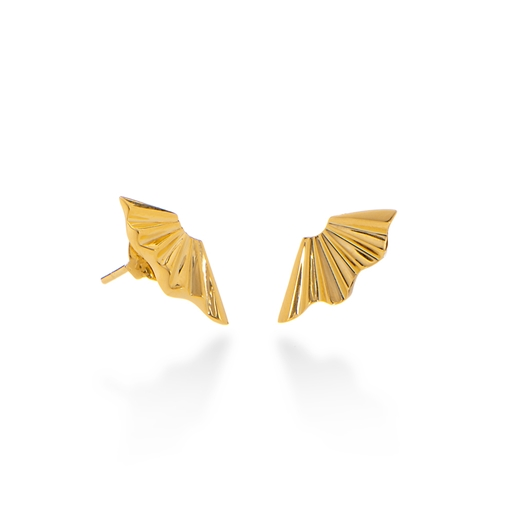 Pleats Bliss 18k Yellow Gold Plated Brass Stud Earrings-