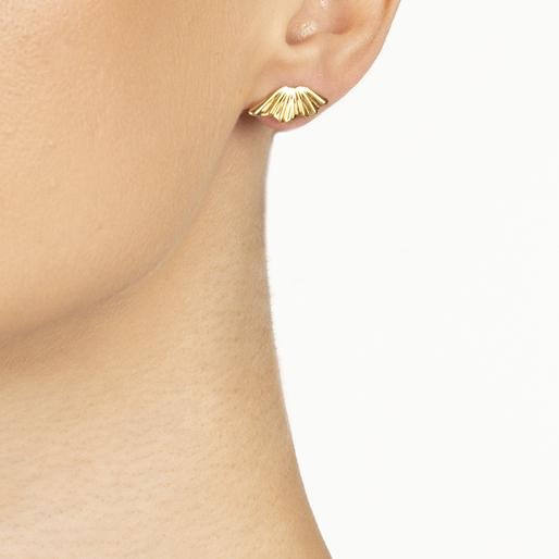 Pleats Bliss 18k Yellow Gold Plated Brass Καρφωτά Σκουλαρίκια-